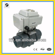 "CTB-025 2"" UPVC 2-way UPVC AC220V motorized ball valve with manual override function"
