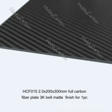 2mm/3mm Full Carbon Fiber Board/Plate 3K Twill Matte surface & CNC Cutting Sheets