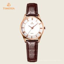 Relógio de pulso de aço inoxidável de quartzo de couro de moda feminina 71115
