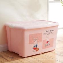 Caixa de recipiente de armazenamento de plástico de desenho rosa para armazenamento doméstico