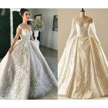 EAU manga larga vestido de boda vestido de bola