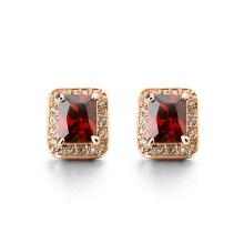 Yiwu Jóias Fábrica muito genuína rosa ouro quadrado rubi gemstone stud earring