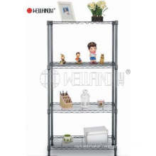 Adjustable 4 Tiers Black Metal Rack for Home (LD6035150B4E)