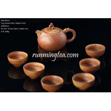 Handmade Crude Ceramic Tea Set, One Tea Pot+ 6 Tea Cups, Brown color, Package Gift Box