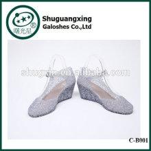 Doucement rêver de pluie, bottes chaussures imperméables étudiant avec les bottes de pluie mignon de cristaux de gelée pour la vente C-B001
