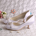 Wedopus Low Heel Wedding Prom Shoes Toe Tertutup