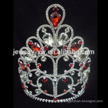 New designs rhinestone products Red and white good crown a tiara crown for women