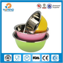 promotional colorful stainless steel storage bowl set,mixing basin set, dinner set