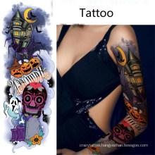 Halloween Tattoo Sticker Full Arm Skull Bat Tombstone Ghost Funny Tattoo Sticker
