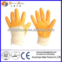 yellow nitrile coated with knit wrist