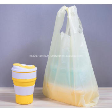 Shopping T-shirt en plastique en jaune