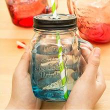 High Flint Beautiful Glass Mason Jar with Logo for Juice with Colorful Cover and Colorful Straw Hot Sale