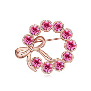 Pink Crystal Bowknot Women Fashion Jewellery Brooch