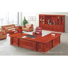 Antique Design Bureau en bois massif Directeur exécutif Mobilier de bureau (HF-YT10A)