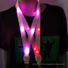 Novo LED Light Up Neck Strap Band Lanyard corrente chave ID Crachá Pendurado Corda de Renda