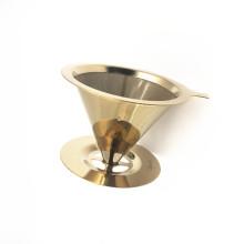 Wiederverwendbarer Edelstahl-Kaffeefilter-Dripper des hohen Grads mit goldener Farbe