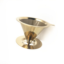 High Grade Reusable Stainless Steel Coffee Filter Dripper With Golden Color