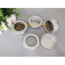 Lata de lata de alumínio do chá de 100g com a tampa do parafuso da janela do animal de estimação (PPC-ATC-100)