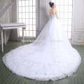Luxury sweet heart neckline lace royal dress deep v neck white color laced dress wedding 2016