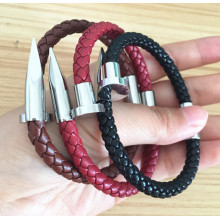 New Fashion Design for Half Anchor Rope Leather Bracelet Braided Genuine Leather Magnetic Clasp Nail Bracelet export to Italy Factories