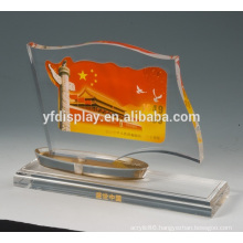 crystal color acrylic photo frame paperweight embedment with logo printing