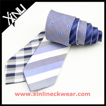 Silk Ties Striped Plaid Blue Reversible Birthday Gifts for Men