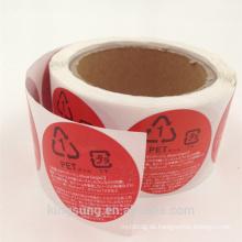 Großhandelsgewohnheitsdrucken-Nahrungsmittelglasaufkleber mit Qualität