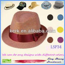El sombrero de paja 100% del papel de las mujeres rojas elegantes más nuevas del Bowknot 2013, LSP34