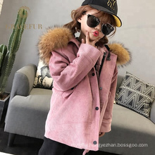 Wholesale winter real fur parka with fur lining thichk overcoat kids