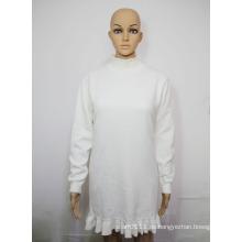 Damenmode Baumwolle Strickpullover Rüschensaum Winter Pullover (YKY2046)