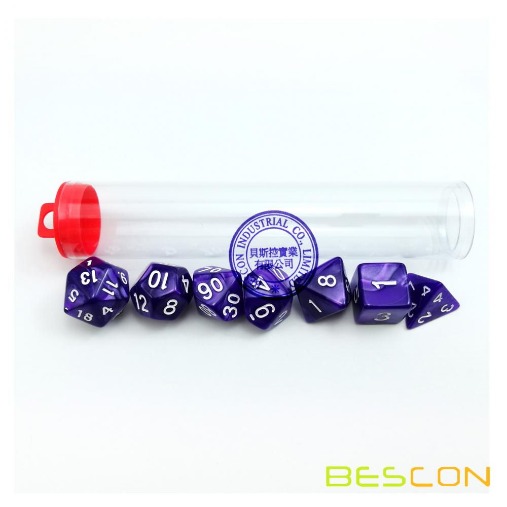 Set of 7 Multi Sided Dice Dungeons D&D RPG Dice Set in Tube- Marble Purple color