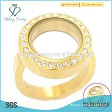 Moda jóias de cristal de ouro viva vidro flutuante anéis locket design