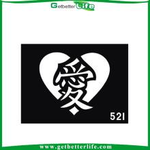 11 * 8cm Glitter réutilisables tatouages pochoirs tatouages de caractère chinois