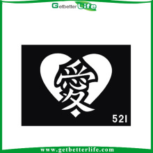 11 * 8cm reutilizáveis Glitter tatuagens tatuagens de caráter chinês estênceis