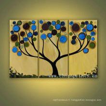 Belle peinture à l'huile à la main multi-panneaux Diy Tree