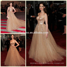 Gold Schatz Ausschnitt Design Boden Länge benutzerdefinierte Make Red Teppich Feier Kleider RD003 lange Kleid Abend Berühmtheit