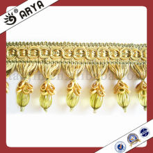 Golden Beaded Fringe For Curtain Decorative Beaded French Lace