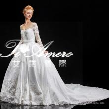 2015 Guangdong últimos desenhos laço vestido de noiva real branco / moda manga longa kim kardashian designer padrões de vestido de noiva