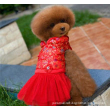 Red Cute Bling Lace Medium Pet Dog Cat Puppy Clothes Dress For Party