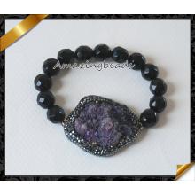 Venta al por mayor joyería facetada negro ágata mens pulseras para las ventas (CB022)