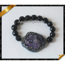 Vente en gros de bijoux en argent sterling facetté Black Agate Bracelets pour les ventes (CB022)