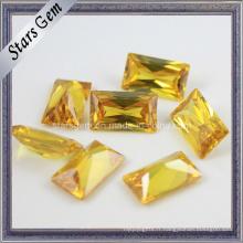 Belle forme rectangulaire jaune Princess Cut Cubic Zirconia Gemstone