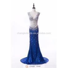 Robe de soirée populaire sur mesure Royal Blue Sparkle Sequins Robe de mariée en sirène de cristal 2017