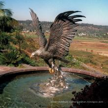 Высокое качество бронзовый фонтан Орел фонтан воды