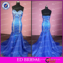 ED Bridal Sparkle Real Picture Mermaid Sweetheart Neckline Zipper Long Tulle Heavy Beaded Evening Dress 2017