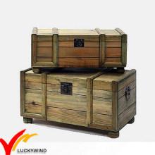 Armazenamento de madeira Handmade Antique Reproduction Trunk