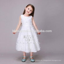 2017 nuevo barato blanco puro una línea sin mangas bordado niña princesa vestido