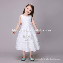 2017 New Cheap Pure White A Line Sleeveless Embroidered Girl Princess Dress