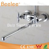 Brassware Design Wall Mount Long Spout Bath Tub Faucet with Double Handle Chrome Plated