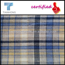 100% espiga camisas tela/cepillado hilo de algodón teñido de tela de cuadros de manga larga camisas/Double-Side Peached cheques tela